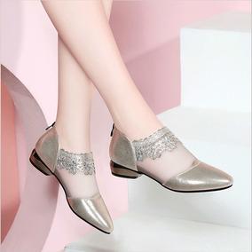 Mulheres Dedo Do Pé Redondo Sandálias De Salto Baixo
