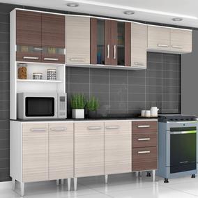 Cozinha Modulada 4 Pçs 12 Portas 3 Gavetas Bruna Br/am/cap
