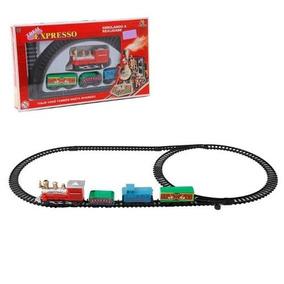 Trenzinho A Pilha Locomotiva Vagões E Trilho Trem Expresso