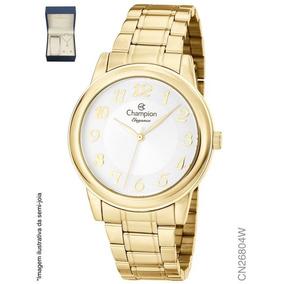 59755b5398a Relógio Feminino Dourado Champion Cn26804w + Colar E Brinco