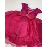 Oferta Vestido De Festa Infantil Pink Renda Tam 1