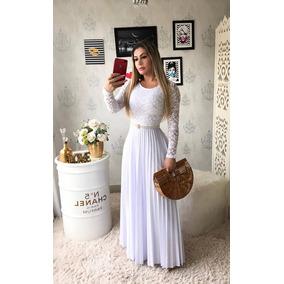 Vestido Longo Crepe C/ Renda - Moda Evangélica
