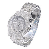 Mens Hip Hop Luxury Iced Out Techno Pave Reloj Gold Tone Hea