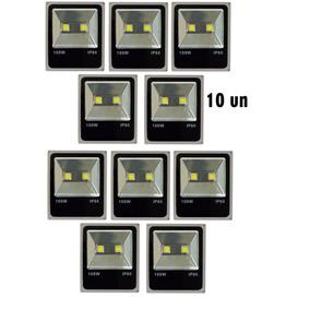 Kit Com 10 Refletor Led Holofote 100w Bivolt A Prova D