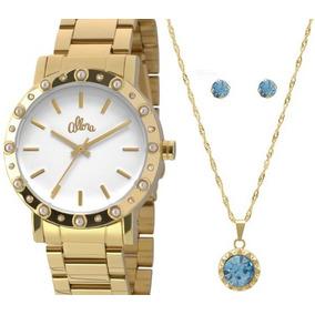 Relógio Allora Feminino Dourado Al2035ezs/k4b +colar