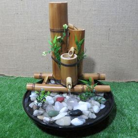 Fonte Água Cascata Bambu E Cerâmica 3 Quedas - Prato Grande