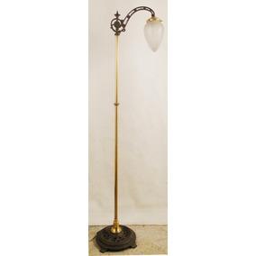 Antigua Lámpara De Pie Francesa Bronce Hierro Forjado