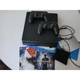 Consola Playstation 4 Ps4 + 2 Controles + 4 Juegos