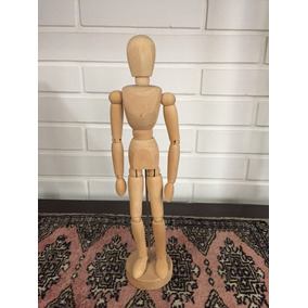 Boneco Manequim Articulado De Madeira 33cm