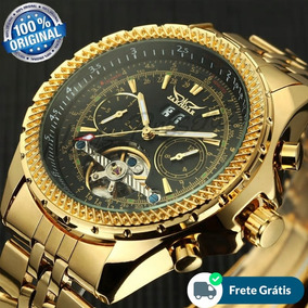Relógio Automático Jaragar Dourado De Luxo Funcional