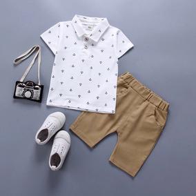 b702130182bd2 Conjunto Bebê Menino Camisa Polo Bermuda Ancora Pronta