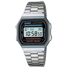 Reloj Casio A168wa-1q Unisex Cuadrado, Digital-gris Y Plata