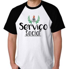 9d5e265227 Camiseta Raglan Camisa Blusa Serviço Social Curso Faculdade