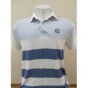 Camisa Polo Harry s Cor Branco Com Listras Azul Escuro E Cla d0cd61a8ab714