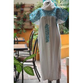 Huipil Vestido Fino Bordado San Antonino Oaxaca Extra Grande