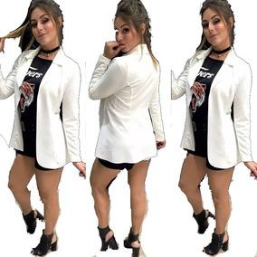 Blazer Feminino Max Sobretudo Comprido Longo Neoprene Moda