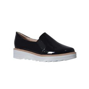 Zapato De Piel Casual Dina Negro Charol Dama