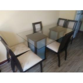 Mesa De Jantar Tampo De Vidro Com 6 Cadeiras De 1,60 X 0,90