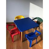 Mesa Infantil Cuadrada De Madera Con 4 Sillas De Plastico