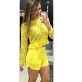 Conjunto Feminino Cropped E Short Em Renda Colado #cj4 Festa