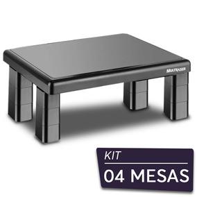 04 Suportes Base Para Monitor De Mesa Quadrado Multilaser
