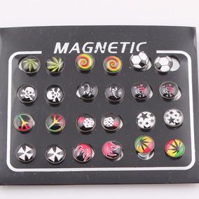 Cartela 12 Pares Brinco Pressão Magnético Imã Estampa Mistas