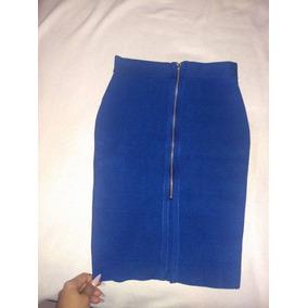 Falda Talla Mediana Bandage Azul Electrico Marca Lob