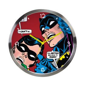 Relógio De Parede De Metal - Dc Comics - Batman E Robin Olha