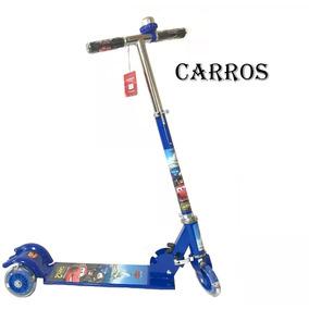 Patinete Infantil Carros 3 Rodas Gel + Led +freio