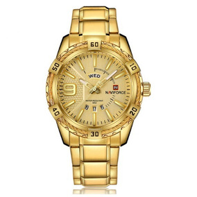 Relógio Naviforce Masculino Dourado De Pulso Na Caixa Barato