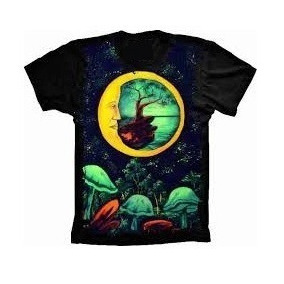 Camiseta Básica 3d Full Unissex Roupa Psicodélica Lua