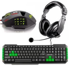 Kit Gamer Teclado Multimídia + Mouse 1000hz + Fone Headset