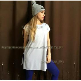 3faae532f7 Camiseta Long Feminina Roupa Estilo Tumblr Comprida Alongada