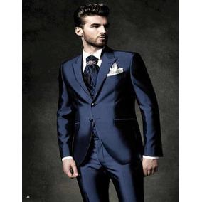 Terno Masculino Pv Brilhoso Azul +colete Promoção Imperdivel