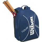 Mochila Wilson Tour Azul E Branca Raquete Notebook