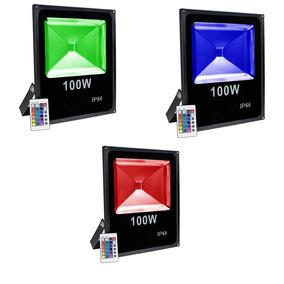 3 Refletor Holofote Led 100w Rgb Resistente À Água