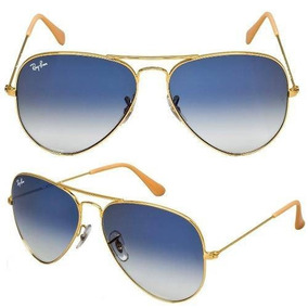 7a4ee64fdc8b5 Óculos Ray Ban Aviador Lentes De Cristal Azul Degradê - Óculos no ...