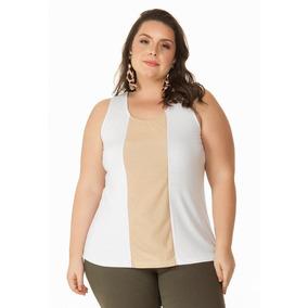 Regata Com Fio Metalizado Branco Miss Masy Plus Size 208e7c9244a19