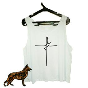 8787858346 Camisa Regata Cropped Feminina Fé Gospel Promoção