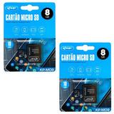 Kit 2 Cartão Memória Micro Sd 8gb Câmera Tablet Lacrado M08
