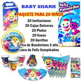 Paquete Para 20 Niños Baby Shark Envío Gratis Fiesta