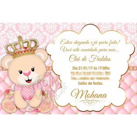 Arte Convite Digital Ursinha Princesa Chá Ou Aniversario
