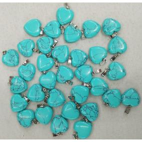 Dije Turquesa Azul Natural Corazón Tamaño 16mmx16mm
