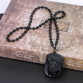 Colar Lobo/wolf Obsidiana Negra Pedra Natural