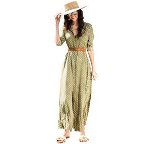 Vestido Largo Con Lunares Cuello V, Varios Colores Nv052