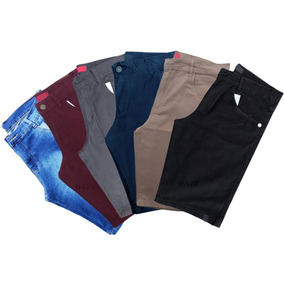 Kit 4 Bermuda Jeans Masculina Plus Size 50 52 54 56 Colorida