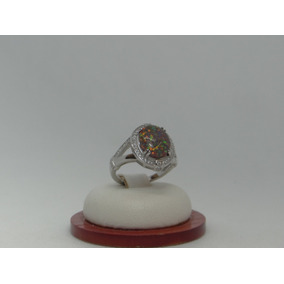 Hermoso Anillo De Plata 925 Con Opalo Y Cristales Da586b5