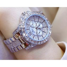 c0a5e340e6d Relogio Feminino Prata Desenho Com Strass - Relógios De Pulso no ...