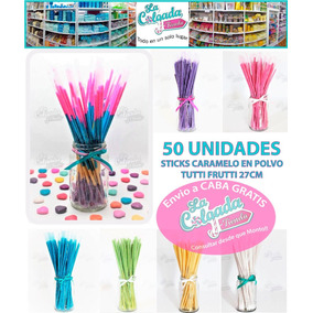 Sticks Caramelos En Polvo Color X50 Unid La Colgada Tiend L1