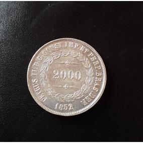 Moeda Antiga De 2000 Reis Ano 1852 - Prata
